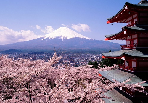 Beautiful picture of mount fuji and a japanese building. In the picture you can see blossoming cherry trees. Its a beautiful scenery and it gives out a satisfying feeling of relaxation and a mix of art as you stare at the picture.